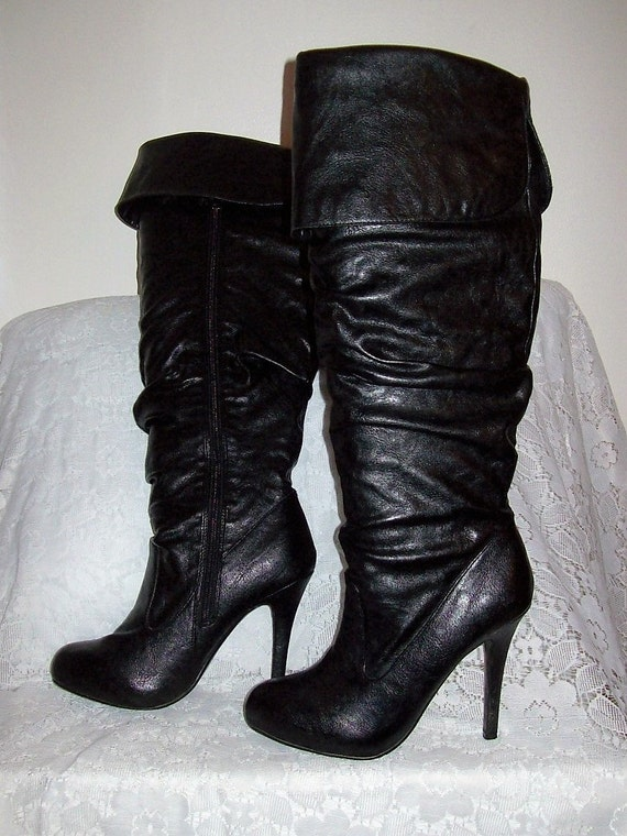 vintage 90s black leather thigh high stiletto boots by