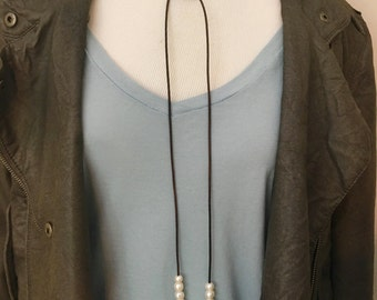 Long Freshwater Pearl Lariat Necklace