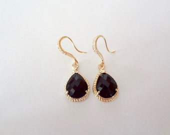 Black and gold earrings - 14k Gold over Sterling Cubic Zirconia ear wires, Wedding earrings, Brides earrings, Bridesmaids, High quality