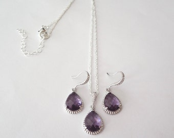 Amethyst Necklace and earring set ~ Sterling silver ~ Bridal jewelry set ~ Bridesmaids jewelry set ~ February birthstone ~ Birthday Gift