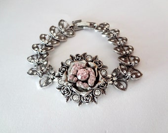 Brides bracelet ~ Snap on jewelry ~ Crystal statement bracelet ~ Snap on statement bracelet ~ Charm bracelet ~ Wedding bracelet ~ Cuff ~Rose
