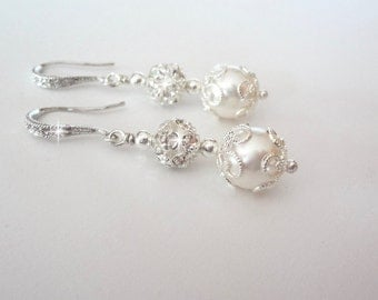 Pearl earrings - Bridal jewelry - Rhinestones - Sterling silver - Brides earrings - Wedding jewelry - Bridesmaids - The LACEY collection -