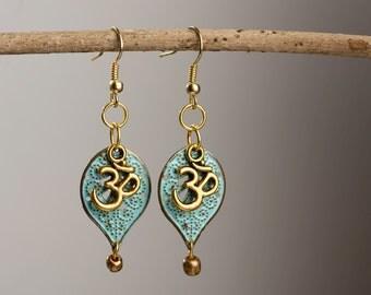 Om Symbol Leaf Earrings.