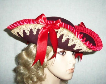 Ladies Pirate Hat - Gold, Purple and Red Tricorn Pirate Hat