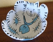 Hand Made/POTTERY CAT BOWL/Signed/Cat/Blue Fish/Kitty Bowl