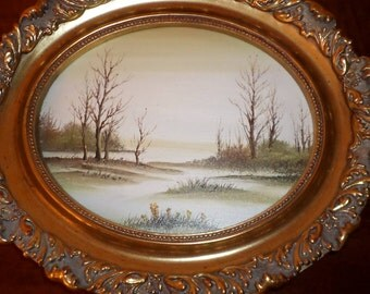 1987/Dickinson/Los Angeles/Wood Frame/Gilded/Certificate/GOLD OVAL FRAME/Winter Scenery/Signed