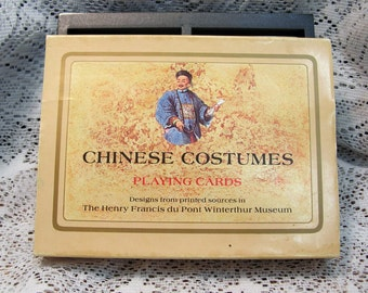 Vintage Double Deck Chinese Costumes Playing Cards Mint in Box