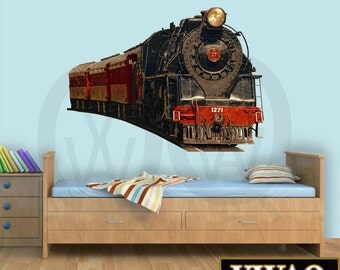 Train Wall Decal Realistic Train Decal Bedroom Locomotive Wall Art Decor Peel And Stick Wall Sticker Home Decor PAS2