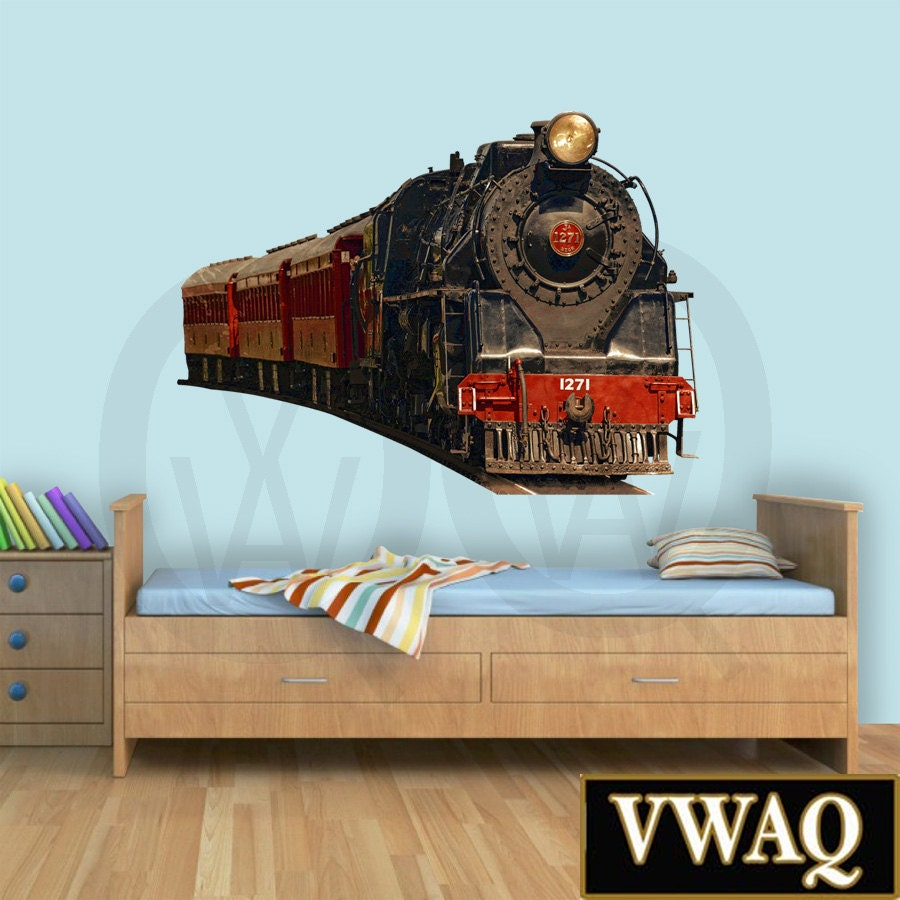 Train Wall Decal Realistic Train Decal Bedroom Locomotive Wall