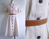 Vintage 80's Cream Pinstripe Cotton Linen Shirtwaist Dress L or XL