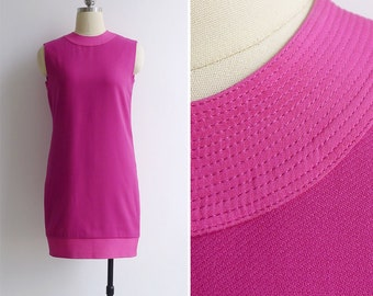 Vintage 90's GIANNI VERSACE Couture Fuchsia Pink Banded Shift Dress S or M