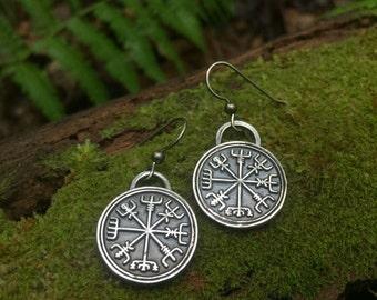 Vegvisir Earrings - Silver - Vegvisir
