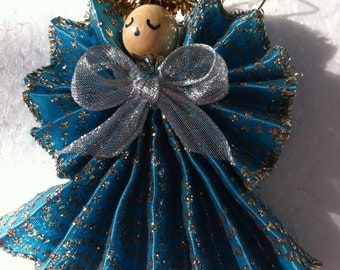 Angel,Handmade,Silver and Blue Ornament
