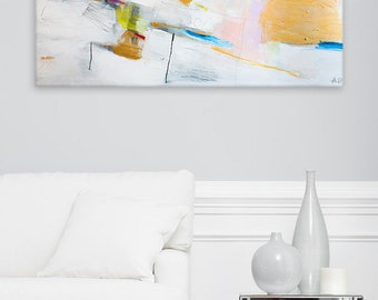 "White and gold Abstract painting, wall art 40x28"" , large painting, acrylic painting, geometric art on canvas"