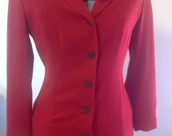 Vintage 1990's TAHARI Designer Red Riding Coat Jacket with Velvet Collar Wool Crepe