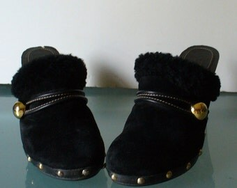 Coach Suede and Wood Black Clogs Size 8.5M US