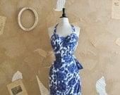 Vintage 1950s Stunning Blue Floral Hawaiian Tikki Dress -Blue Lagoon-