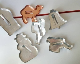 Set of 6 Vintage Metal Cookie Cutters