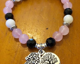 Fertility Bracelet, Reiki Charged, Made From Rose Quarz, Moonstones & Onyx with Hamsa and Tree of Life Charms