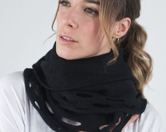 Black infinity scarf, Felted knitted cowl, Loop wool scarf, Cozy Neckwarmer, Warm winter scarf, Circle scarf cutouts, Gift for her. For mom
