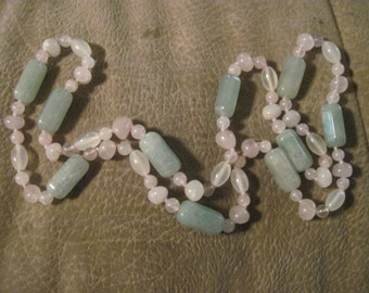 Beautiful Jade Beaded Necklace Accented with Rose Quartz and Amethyst Beads REDUCED