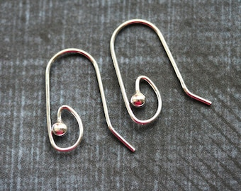 Sterling Silver Interchangeable Earwires, Ball End Ear Wire, 20Ga wire, for jewelry making - 1pair - F401