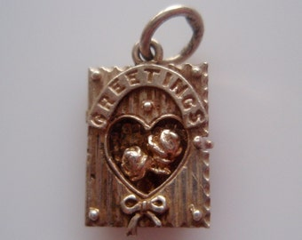 Silver Greetings Card Charm Opens to Roses Inside