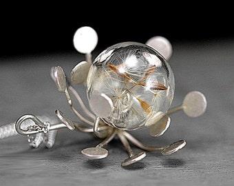 REAL dandelions in STERLING dandelion flower. Dandelions seeds in glass orb in filigree sterling. Long necklace. Make a wish.