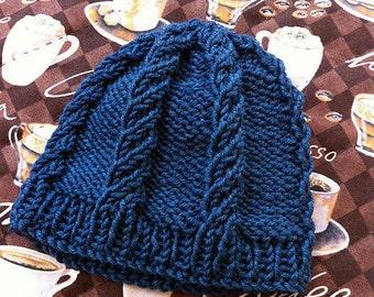 DIGITAL PATTERN: Quick Knit Baby Hat Knitting Pattern - Baby Blue Twist PDF instant digital download