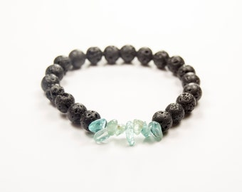 Happiness - Third Eye Activation  - Apatite & Lava bracelet - Essential Oil diffuser bracelet