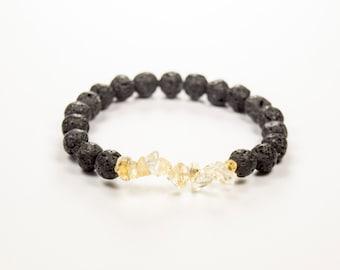 Third Chakra - 3rd Chakra - Solar Plexus - Manipura - Confidence - Power - Compassion - Citrine & Lava bracelet - Essential Oil diffuser