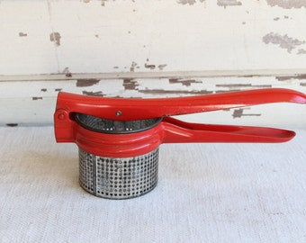 Vintage Red Metal Handheld Potato Ricer Strainer