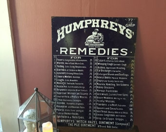 SALE- Original Humphrey's Remedies- Humphrey's Specifics Vintage Tin Sign- Medical Advertising