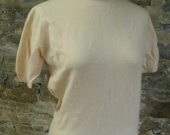 blush pink HADLEY CASHMERE VINTAGE short sleeved sweater S M L