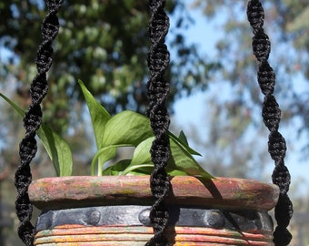 HELIX - Handmade Macrame Plant Hanger Holder with Wood Beads - 4mm Braided Poly Cord in BLACK