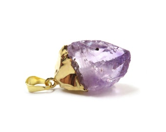 "Amethyst Crystal Raw Pendant Gold 1 Rough Purple Stone 33mm - 37mm / 1.3"" - 1.5"" (Lot B06G) Natural Mineral"