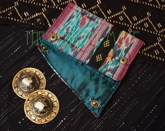 Small Assiut Zill Bag- Teal and Red Striped Ikat and Assuit Finger Cymbals Pouch