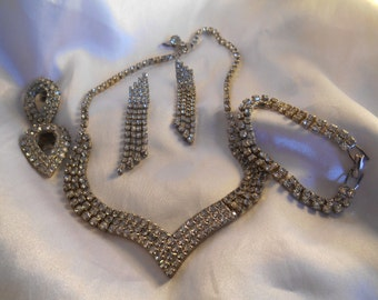Statement Glamour Rhinestone Jewelry Set Necklace, Bracelet, Earrings, and Shoe Clips