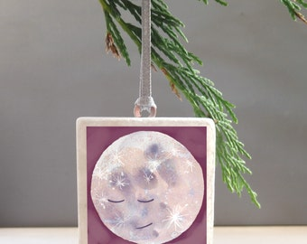 Moon Decoration - Man In The Moon - Moon Christmas tree decoration-  moon xmas decoration- Stocking Filler- lunar gift- magical christmas