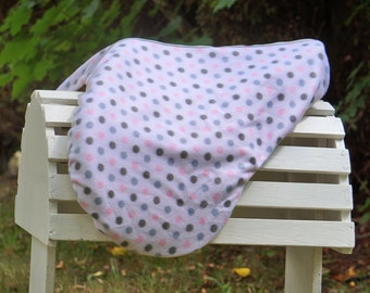 Ready to Ship - Gray and Baby Pink Polka Dot Reversible Close Contact Saddle Cover