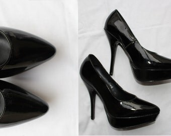 Black Patent Platform Stilettos - Pointed Toes - vintage shiny shoes -ultra high heels - point toe- Eur 37.5 UK 4.5