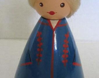 Vintage Russian Doll Folk Art 60s SALVO Russian Estonia USSR  Souvenir 1960s Soviet Era
