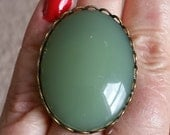 Big Bold Green from Antique Stock Faux Stone Cabochon Ring w/ Filigree Adjustable Setting