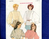 1980's Butterick 4221 Retro Victorian High Collar Puff Sleeve Blouses Size 14 UNCUT