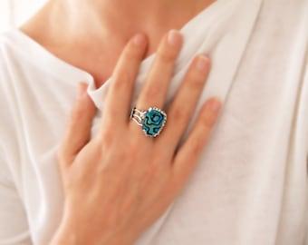Abalone Ring, Asymmetrical Sterling Silver Ring , Abalone Sea Shell, Open Ring, Handmade by Designer Artisan