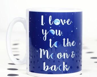 Moon and Back Mug, Lunar, Valentines Mug, Moon, Mug, Valentines Day Gift, Love,  Moon and Back, Blue, Home & Living, Drinkware, Cup, Ceramic