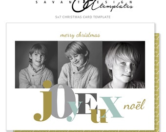 Joyeux Noel Christmas Card, Gold & Gray Holiday Photo Card, CC22H, INSTANT Download, Photoshop Template, 5x7 Photography Card Template,