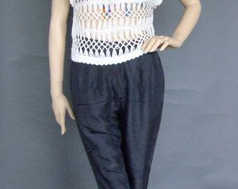 off white open weave top, crochet top, sleeveless top, crop top