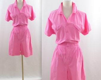 Candy Pink Romper Shorts - Vintage 1980s does 50s Women's Playsuit in Small Medium by Earthquake