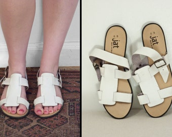 JAT Leather Sandals 1970s White Gladiator Buckle US Women's Size 8